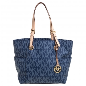 MICHAEL Michael Kors Blue Signature Coated Canvas and Leather Jet Set Tote