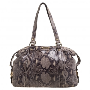 Michael Kors Grey/Black Python Embossed Leather Satchel