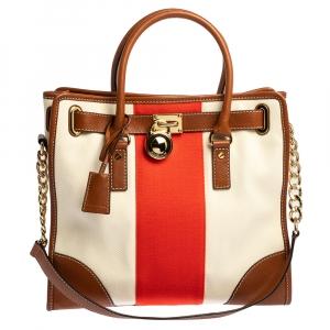 حقيبة مايكل مايكل كورس هاميلتون جلد ثلاثي اللون وكانفاس كبيرة