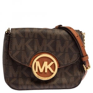 MICHAEL Michael Kors Brown Signature Coated Canvas and Leather Fulton Crossbody Bag