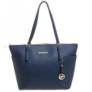 حقيبة مايكل مايكل كورس جيت سيت جلد أزرق كحلي بسحاب