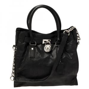 حقيبة يد مايكل مايكل كورس هاميلتون مرصعة كبيرة جلد سوداء