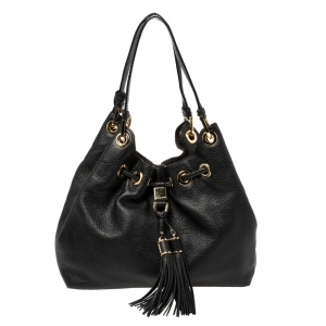 MICHAEL Michael Kors Black Leather Camden Drawstring Hobo