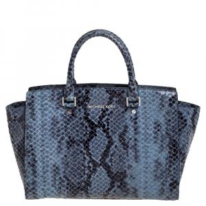 MICHAEL Michael Kors Blue Python Embossed Leather Large Selma Satchel