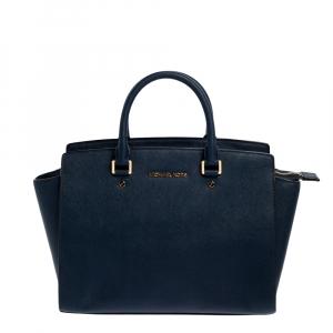 MICHAEL Michael Kors Navy Blue Leather Large Selma Satchel