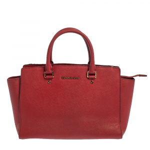Michael Kors Red Leather Medium Selma Tote