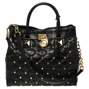 MICHAEL Michael Kors Black Studded Quilted Leather Large Hamilton North South Tote