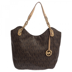 MICHAEL Michael Kors Brown Signature Coated Canvas and Leather Lilly Chain Hobo