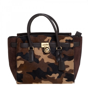 MICHAEL Michael Kors Brown Camouflage Calfhair,Suede and Leather Hamilton Tote
