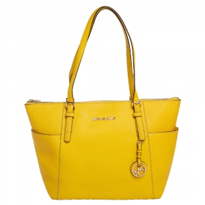 حقيبة مايكل مايكل كورس جيت سيت جل أصفر متوسطة