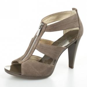 MICHAEL Michael Kors Beige Suede 'Berkley' T-Strap Sandals Size 37.5