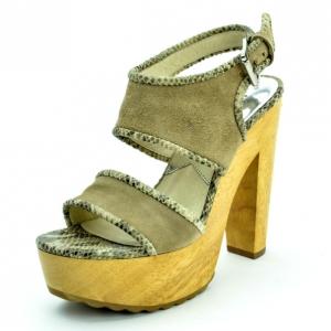 MICHAEL Michael Kors Beige Suede Lilly Platform Sandals With Snakeskin Trim Size 38.5