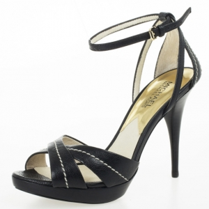 MICHAEL Michael Kors Black Leather Ankle Strap Sandals Size 38