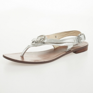 MICHAEL Michael Kors Silver Leather Aubrey Logo Thong Sandals Size 38