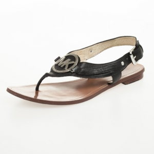 MICHAEL Michael Kors Black Leather Aubrey Logo Thong Sandals Size 37