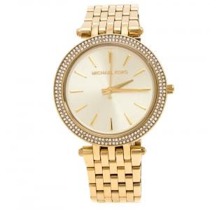 Michael Kors Yellow Gold Plated Stainless Steel Darci Glitz MK3191 Womens Wristwatch 39 mm
