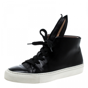 Minna Parikka Black Leather Bunny Sneaks High Top Sneakers Size 39