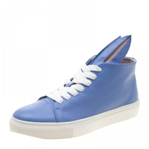 Minna Parikka Blue Leather Bunny Sneaks High Top Sneakers Size 40