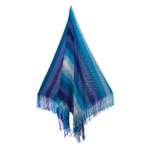 Missoni Blue Fringed Crochet Knit Wrap Scarf