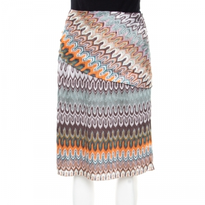Missoni Multicolor Perforated Patterned Knit Fold Over Waist Detail Skirt L
