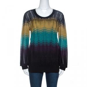 M Missoni Multicolor Chevron Patterned Pointelle Knit Top L