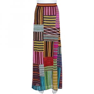 Missoni Multicolor Lurex Knit Patchwork Striped Maxi Skirt L