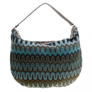 Missoni Green/Multicolor Fabric Weave Hobo