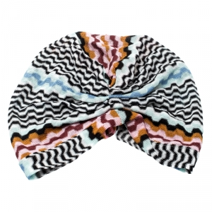 Missoni Mare Multicolor Zig Zag Pattern Knit Beach Turban