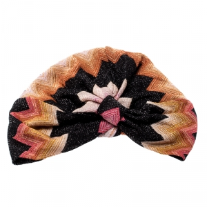 Missoni Mare Multicolor Zig Zag Pattern Lurex Knit Beach Turban