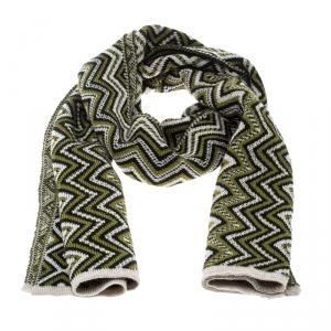 Missoni Multicolor Chevron Patterned Jacquard Knit Scarf