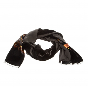 Missoni Black Velvet Chevron Patterned Burnout Detail Scarf