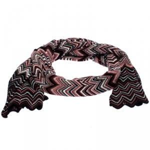 Missoni Multicolor Chevron Wool Knit Stole