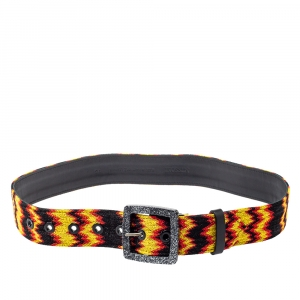 Missoni Multicolour Fabric and Leather Buckle Belt 75 CM