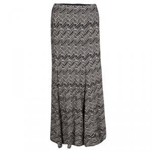 Missoni Patterned Perforated Knit Box Pleat Detail Maxi Skirt M