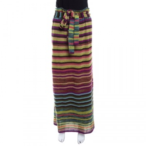 Missoni Multicolor Striped Knit Elasticized Waist Tie Detail Midi Skirt L