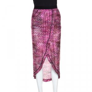 Missoni Mare Pink Chevron Pattern Lurex Knit Faux Wrap Skirt S