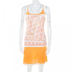 Missoni Orange Patterned Stretch Knit Paneled Tank Dress S used