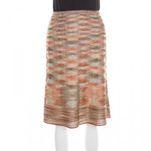 Missoni Multicolor Lurex Knit A Line Skirt M