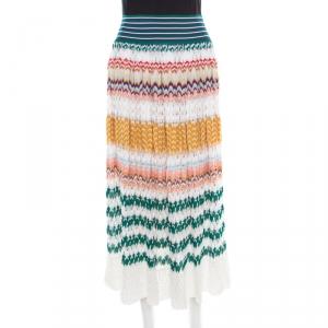 Missoni Multicolor Perforated Patterned Knit Elasticized Waist Midi Skirt M