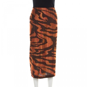 Missoni Black and Orange Textured Woven Slit Detail Midi Skirt L