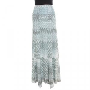 Missoni Blue and Silver Chevron Pattern Perforated Lurex Knit Maxi Skirt L
