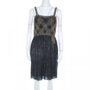 M Missoni Gold Crochet Detail Short Dress S - used