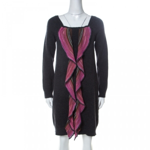 Missoni Grey and Pink Wool Ruffle Front Detail Tunic Sweater L