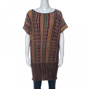 M Missoni Multicolor Zig Zag Knit French Sleeve Long Top L