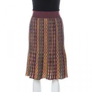M Missoni Multicolor Zig Zag Knit Knee Length Skirt L