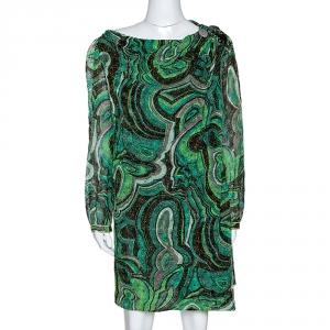 Missoni Green Lurex Jacquard Knit Brooch Detail Draped Dress L - used