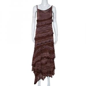 Missoni Brown Lurex Knit Tiered Sleeveless Dress M - used