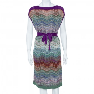 M Missoni Purple & Green Wool Blend Belted Dress M