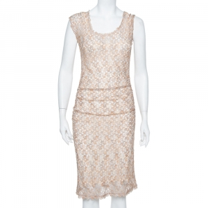 Missoni Beige Open Knit Ruched Midi Dress S