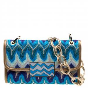 Missoni Multicolor Shimmering Weave Fabric Shoulder Bag